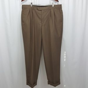 Perry Ellis medium brown pleated cuffed dress pant